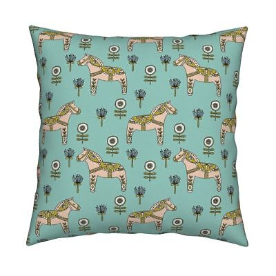 Dala Horse Flowers Dala Folk Throw Pillow Cover w Optional Insert by Roostery