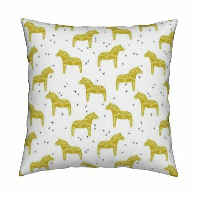 Dala Horse Mustard White Throw Pillow Cover w Optional Insert by Roostery
