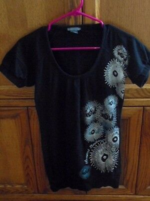 Armani Exchange Womens Misses Shirt Size XS Black Silver Clothes