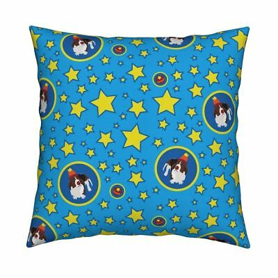 Basset Hound Circus Dot Stars Throw Pillow Cover w Optional Insert by Roostery