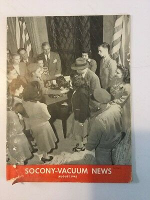 SOCONY -  VACUUM NEWS Magazine Of Mobiloil MOBIL OIL GAS NYC August 1945