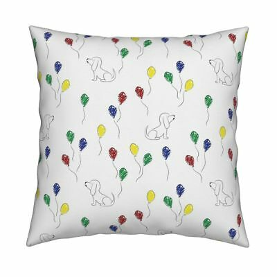 Basset Hound Balloons Dog Throw Pillow Cover w Optional Insert by Roostery