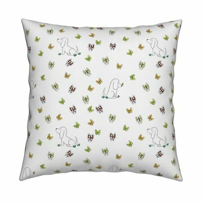 Basset Hound Dog Butterfly Throw Pillow Cover w Optional Insert by Roostery