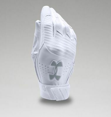 Under Armour Youth UA Clean Up Baseball Batting Gloves 1299531-100 WHT/WHT/STL
