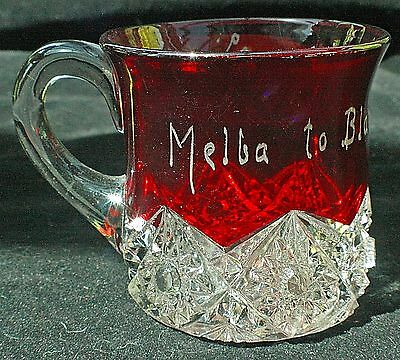Vintage Pressed Glass Cup with Red Colored Top and Inscription