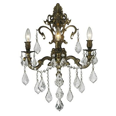 "SALE Versailles 3 Light Antique Bronze Crystal Candle Wall Sconce 17""x24"" Large"
