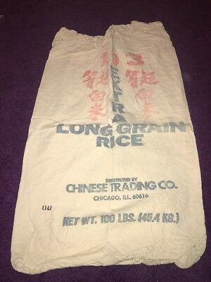 Vintage CLOTH Extra Long Grain Of Rice Chinese Trading Chicago 100lbs