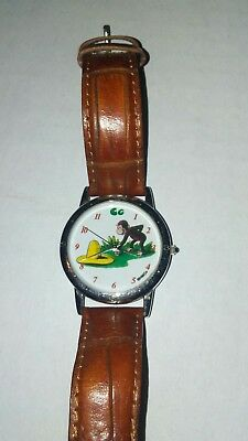 Vintage Curious George Watch, with the yellow hat, Stainless Steel, Leather Band