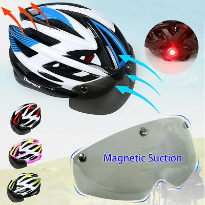 AU Ultralight Bicycle Cycling Road Bike MTB Helmet + Light + Visor Len 57-62cm
