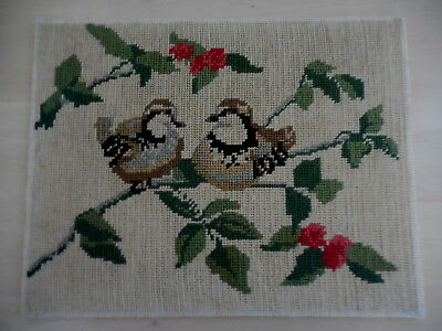 Vintage Tapestry  Birds Completed On Backing &  Unframed