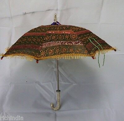 Ethnic Indian Colorful Sun Protection Parasol Umbrella Decor Vintage Umbrella