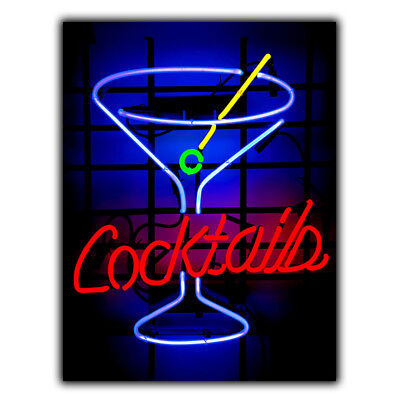 METAL SIGN PLAQUE Neon COCKTAILS kitchen bar pub decor Man Cave print poster art