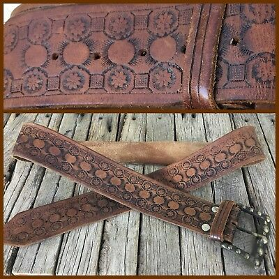 VINTAGE Tan HAND TOOLED LEATHER BELT Brass Buckle BOHO