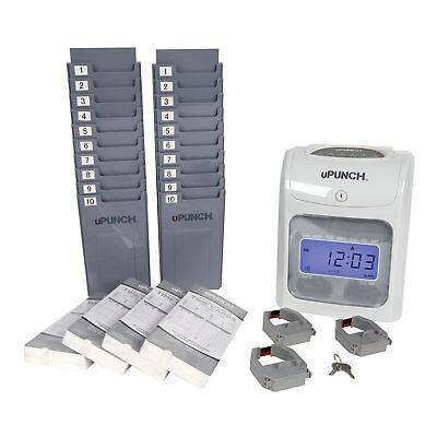 Electronic Time Clock Punch Card Machine Employee Office Work Hours Pay Monitor