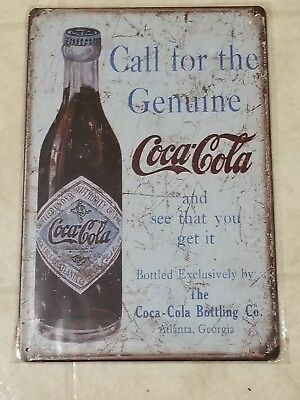 COCA COLA metal sign call for the genuine coke Vintage Retro style US Seller