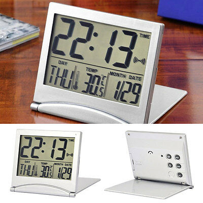 Silver Digital LCD Display Desk Alarm Clock Calendar Date Time Thermometer 2018.