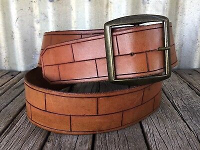 VINTAGE Tan TOOLED LEATHER BELT Brass Buckle BRICK WALL PATTERN Boho