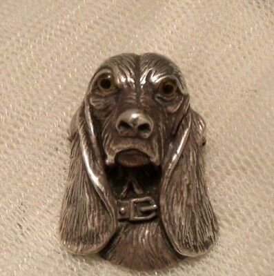 Victorian Inspired Solid Silver Glass Eyes Spaniel, Hound, Dog Pendant Brooch Pi