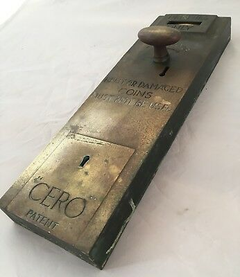 "1920's Vintage ""CERO"" Brass Public Toilet Spend a Penny Door Lock"