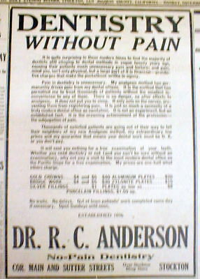 1916 Stockton CALIFORNIA newspaper Large DENTIST AD offering PAINLESS DENTISTRY