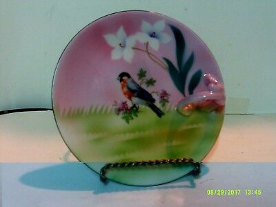 Vintage Hand Painted Prov Saxe E.s. Germany Plate With Finger Ring Bird& Flowers