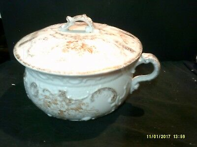 Antique W.h.grindley England Ironstone Chamber Pot & Lid Floral Decorated