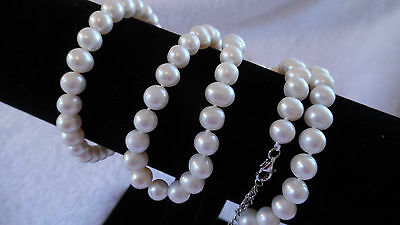 925 Sterling Silver Classic White Freshwater Pearl Necklace & Bracelet Set