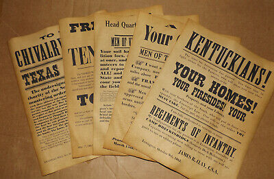 5 Civil War Confederate Recruiting Posters Florida Virginia Tennessee Kentucky