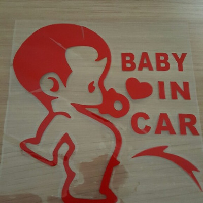 """BABY IN CAR"" lustiger Aufkleber, Sticker, Auto KFZ Sticker rot NEU"