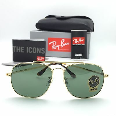 56754b2614 New Ray-Ban RB3561 001 Gold General Sunglasses Green Classic Lens 57mm