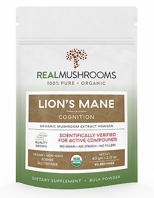 Organic Lions Mane Mushroom Extract Powder by Real Mushrooms - 60g Bulk Powder