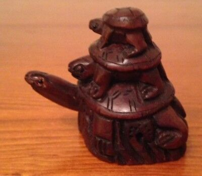 Charming Japanese Wooden Netsuke Tortoise With Babies On Back Cord Holes
