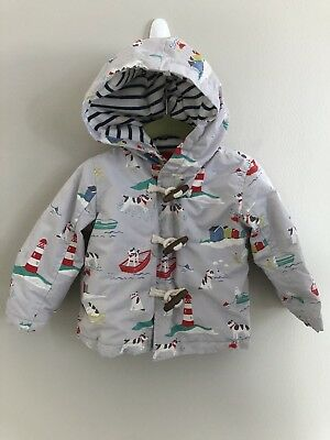 Infant Unisex Baby Boden 6-12 Months Lined Jacket Coat Lighthouse Dog Puppy READ