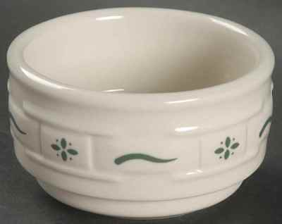 LONGABERGER Pottery Woven Traditions Heritage Green Ramekin/Custard Cup~USA