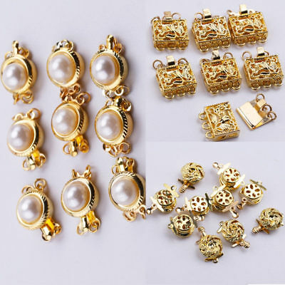 5pcs Gold Flower Pearl Jewellery Connector Clasp DIY Necklace Bracelet Findings