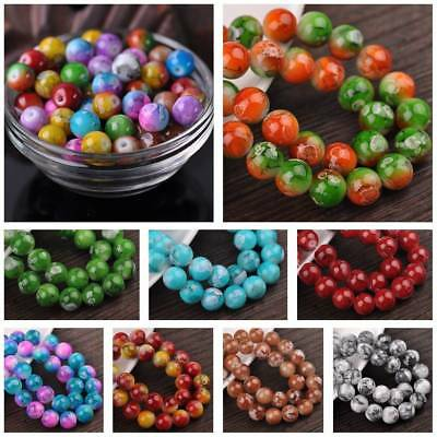 Assorted Spots Coated Round Glass Loose Spacer Beads Lots 6mm 8mm 10mm 12mm