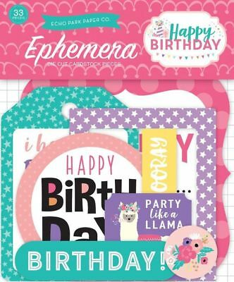 "Echo Park ""happy Birthday"" Girl Ephemera Die Cut Pieces Party Scrapjack's Place"