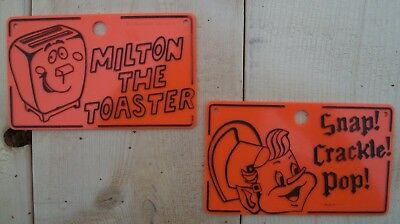 Snap Crackle Pop & Milton the Toaster Bike Bicycle License Plate Kellogg's Vtg