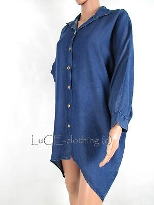 a40c6269bf6 NEW Womens Oversized Batwing Allie Asymmetric Soft Touch Denim Shirt Tunic  Top