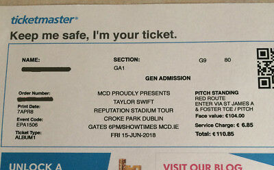 3 Taylor Swift Tickets (General Admission) – Croke Park, Dublin Friday 15th June