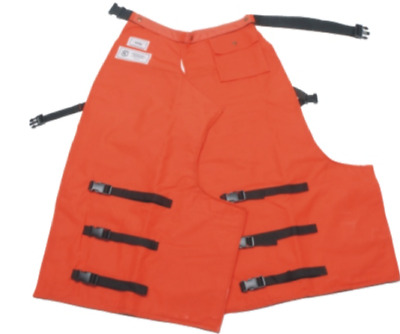 """Full Wrap"" Safety Orange Chain Saw Chaps - With tool pocket and protective pad"
