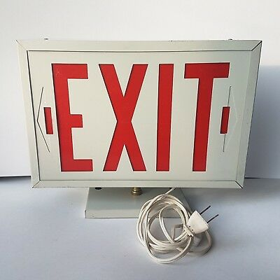 """Working red EXIT SIGN on swivel stand w/ WALL PLUG on 4"""" cord  - Man cave gift"""