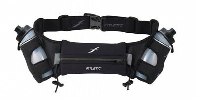 Fitletic Hydration Belt 12oz size L / XL Black Water Bottles Endurance Athelete