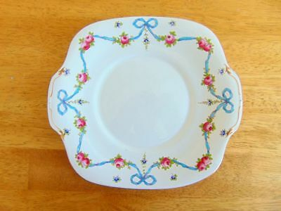 Crown Staffordshire Blue Ribbon and Gold Cookie/Sandwich Plate