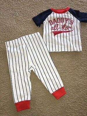 The Childrens Place Boys Short Sleeve Cotton Pajama Set Baseball/tidal 3-6 Month