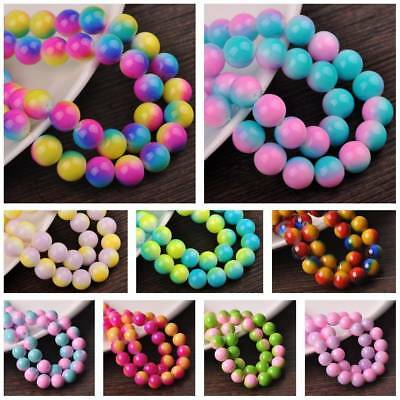 Rainbow Colors Coated Round Glass Loose Spacer Beads Lots 6mm 8mm 10mm 12mm