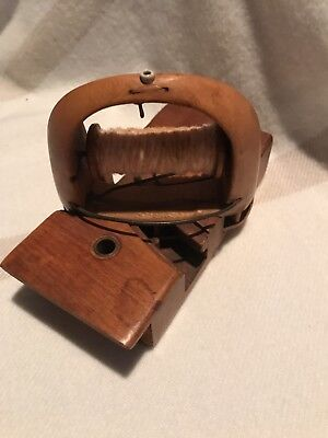 Wooden Antique Vintage Sewing Shuttle & Gear Assemblage For Factory Loom