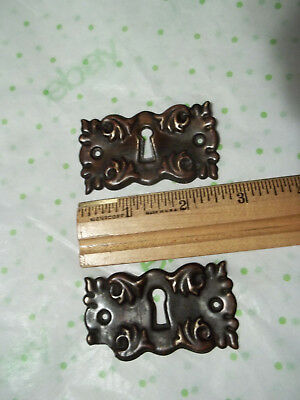 2 Matching Unpolished Brass Victorian Escutcheon Keyhole Covers, Free S/H