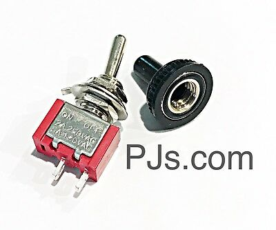 On Off Mini Toggle Switch SPST Miniature + Waterproof Cover x 1pc