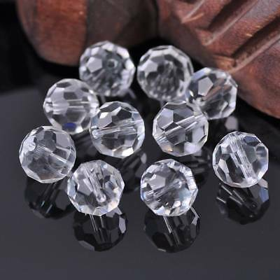 10pcs 12mm 32 Facets Clear Round Faceted Cut Crystal Glass Loose Spacer Beads